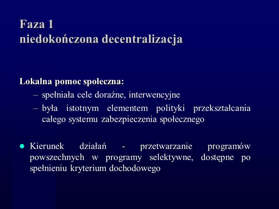 Faza 1 niedokończona decentralizacja Lokalna pomoc społeczna: –spełniała cele doraźne, interwencyjne –była istotnym elementem polityki przekształcania