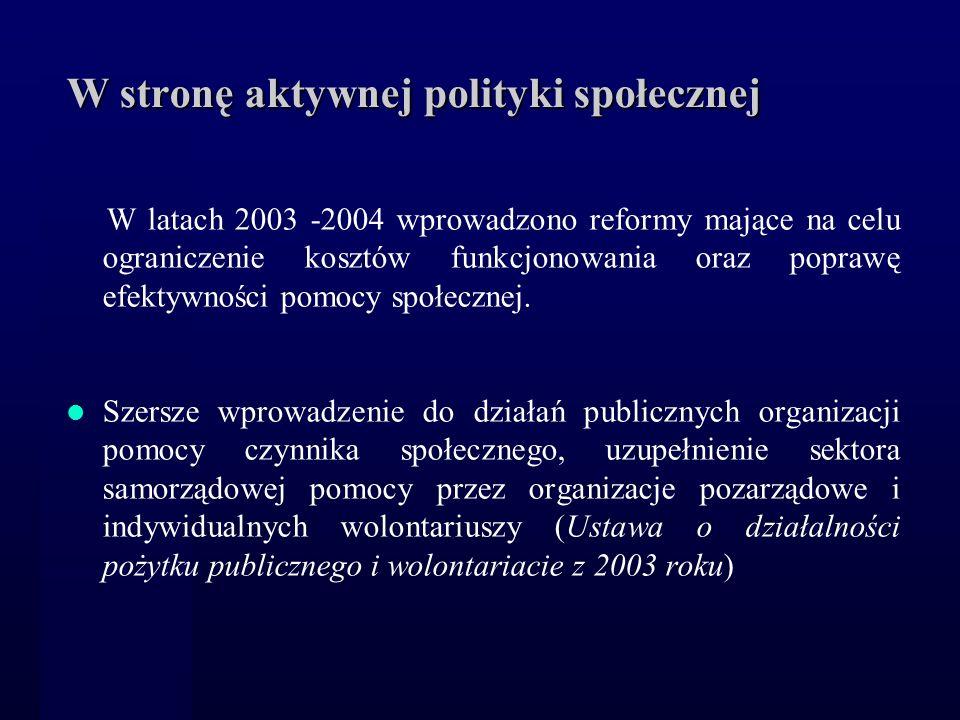 W stronę aktywnej polityki społecznej W latach 2003 -2004 wprowadzono reformy mające na celu ograniczenie kosztów funkcjonowania oraz poprawę efektywn