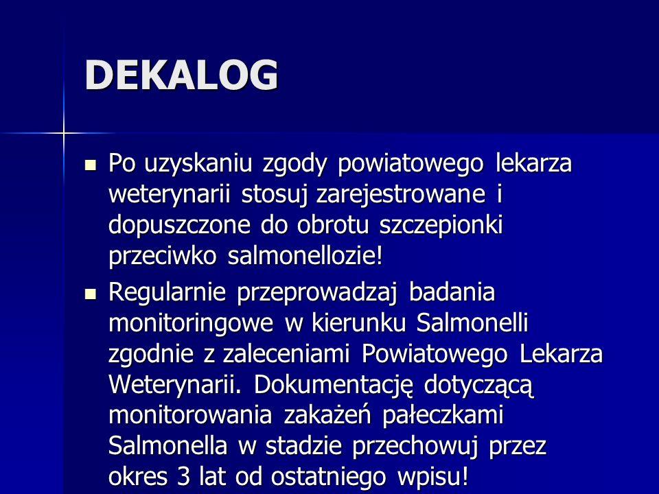 DEKALOG Regularnie przeprowadzaj badania monitoringowe w kierunku Salmonelli zgodnie z zaleceniami Powiatowego Lekarza Weterynarii. Dokumentację dotyc