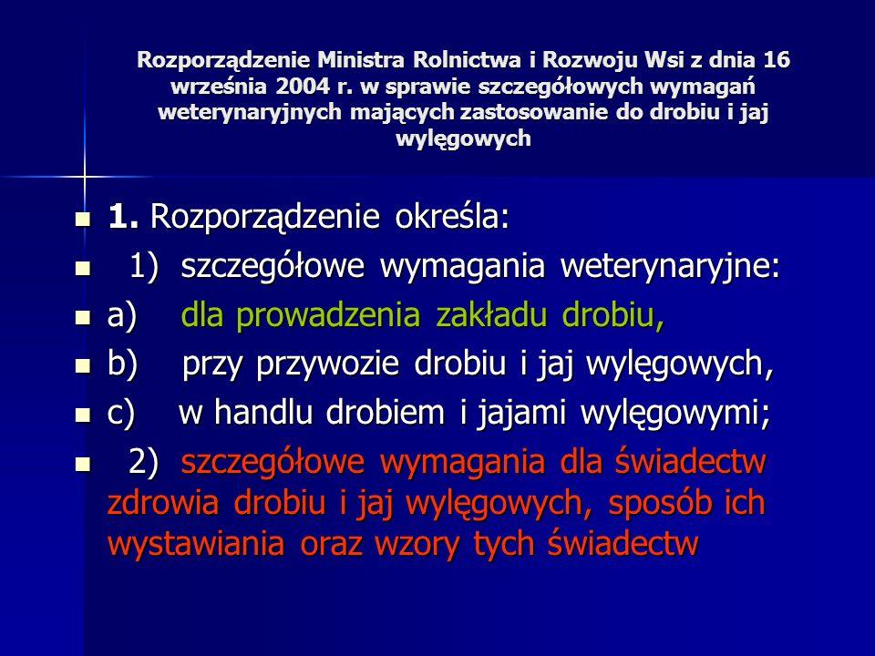 Produkcja nadzorowana Rozporządzenie Ministra Rolnictwa i Rozwoju Wsi z dnia 16 września 2004 r., w sprawie szczegółowych wymagań weterynaryjnych mają