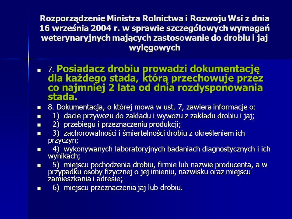 Rozporządzenie Ministra Rolnictwa i Rozwoju Wsi z dnia 16 września 2004 r. w sprawie szczegółowych wymagań weterynaryjnych mających zastosowanie do dr