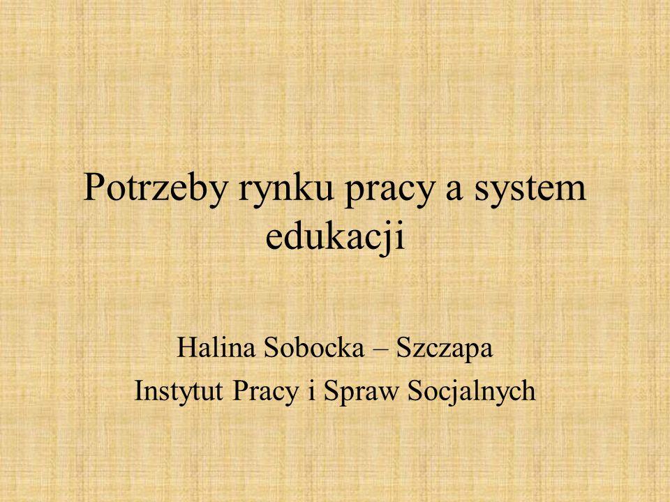 Potrzeby rynku pracy a system edukacji Halina Sobocka – Szczapa Instytut Pracy i Spraw Socjalnych