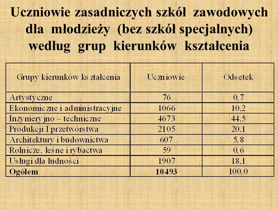 Uczniowie zasadniczych szkół zawodowych dla młodzieży (bez szkół specjalnych) według grup kierunków kształcenia