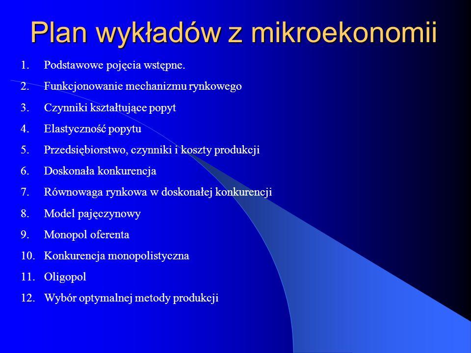 Plan wykładów z mikroekonomii 1.Podstawowe pojęcia wstępne.