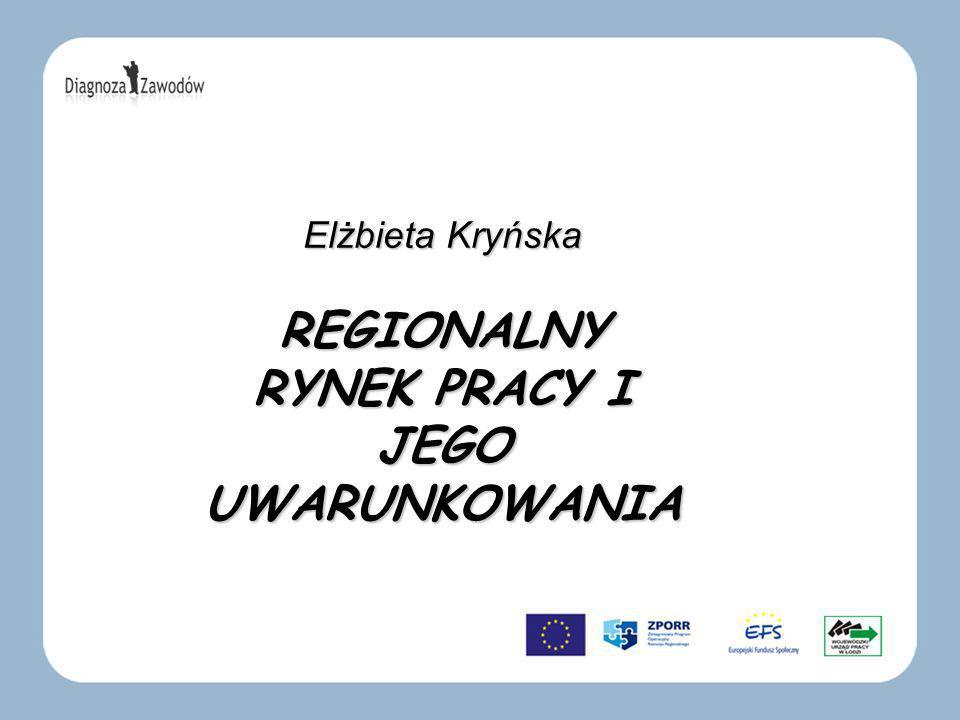 Elżbieta Kryńska REGIONALNY RYNEK PRACY I JEGO UWARUNKOWANIA