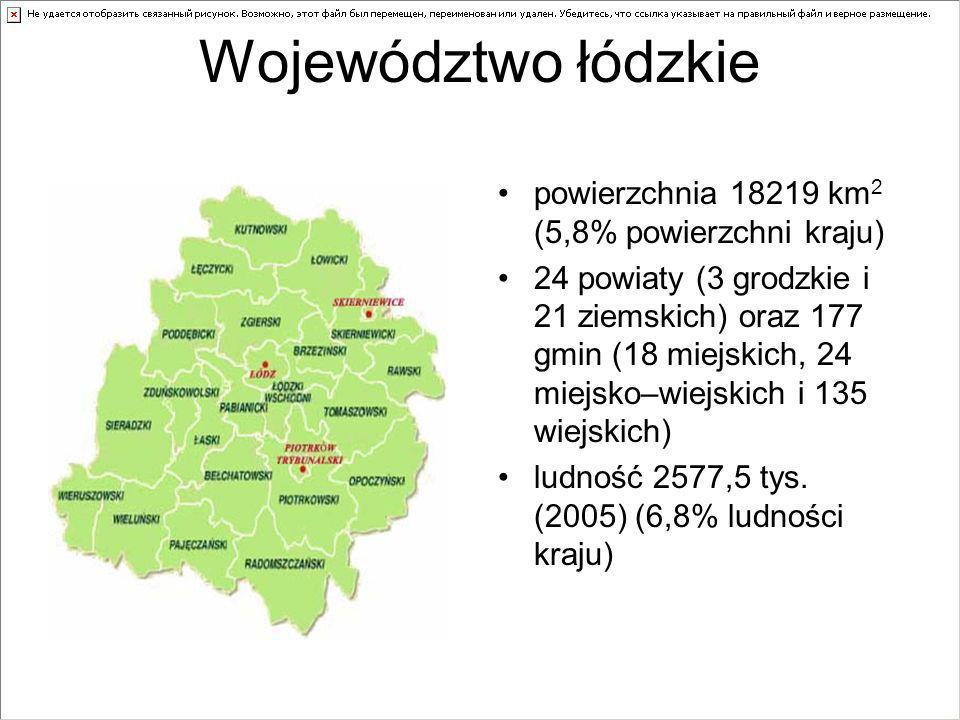Województwo łódzkie powierzchnia 18219 km 2 (5,8% powierzchni kraju) 24 powiaty (3 grodzkie i 21 ziemskich) oraz 177 gmin (18 miejskich, 24 miejsko–wiejskich i 135 wiejskich) ludność 2577,5 tys.