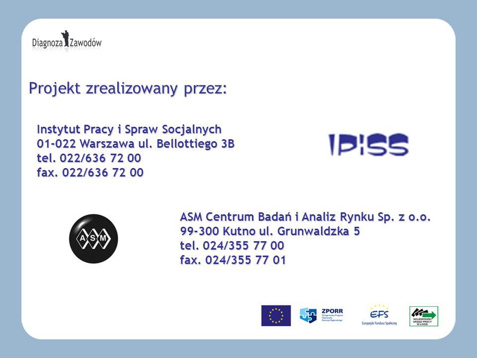 Projekt zrealizowany przez: ASM Centrum Badań i Analiz Rynku Sp. z o.o. 99-300 Kutno ul. Grunwaldzka 5 tel. 024/355 77 00 fax. 024/355 77 01 Instytut