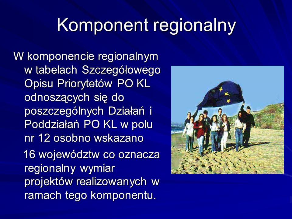 Komponent regionalny W komponencie regionalnym w tabelach Szczegółowego Opisu Priorytetów PO KL odnoszących się do poszczególnych Działań i Poddziałań