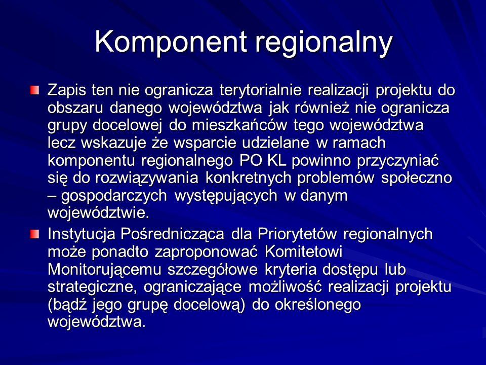 Komponent regionalny Zapis ten nie ogranicza terytorialnie realizacji projektu do obszaru danego województwa jak również nie ogranicza grupy docelowej