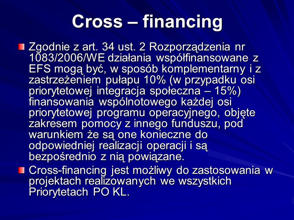 Cross – financing Zgodnie z art. 34 ust. 2 Rozporządzenia nr 1083/2006/WE działania współfinansowane z EFS mogą być, w sposób komplementarny i z zastr