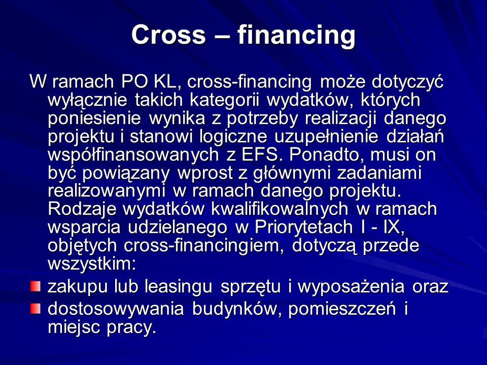 Cross – financing W ramach PO KL, cross-financing może dotyczyć wyłącznie takich kategorii wydatków, których poniesienie wynika z potrzeby realizacji