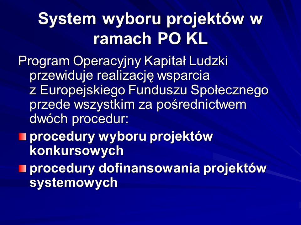 System wyboru projektów w ramach PO KL Program Operacyjny Kapitał Ludzki przewiduje realizację wsparcia z Europejskiego Funduszu Społecznego przede ws