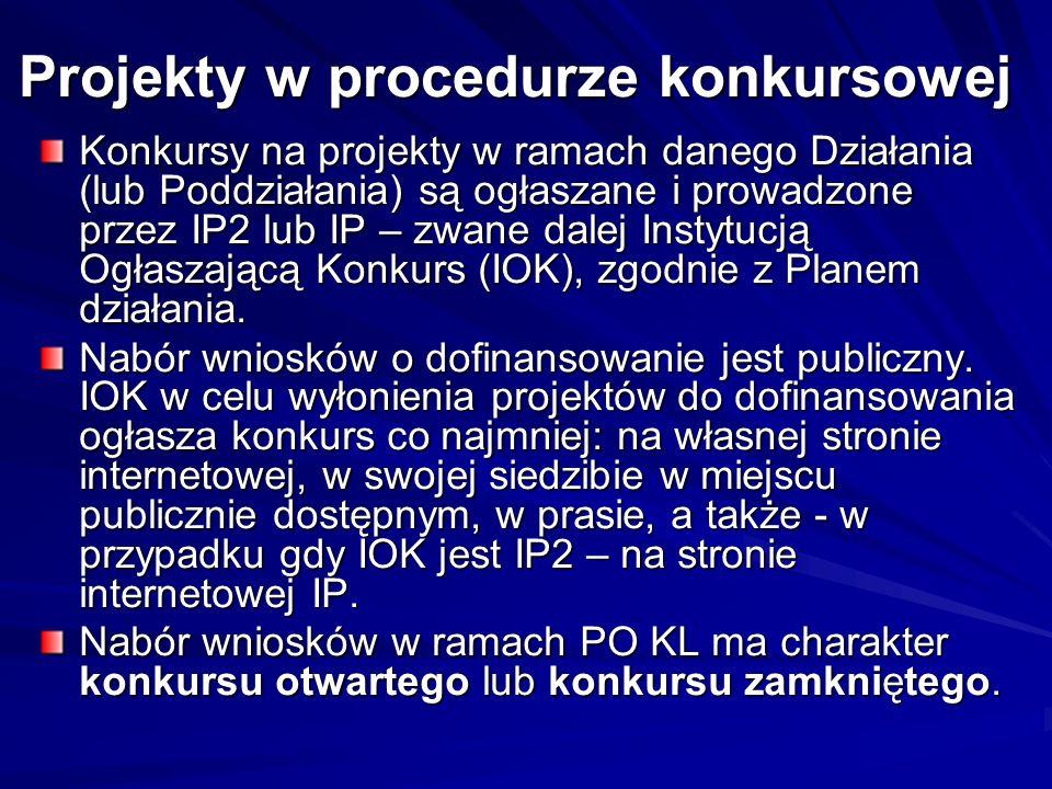 Projekty w procedurze konkursowej Konkursy na projekty w ramach danego Działania (lub Poddziałania) są ogłaszane i prowadzone przez IP2 lub IP – zwane
