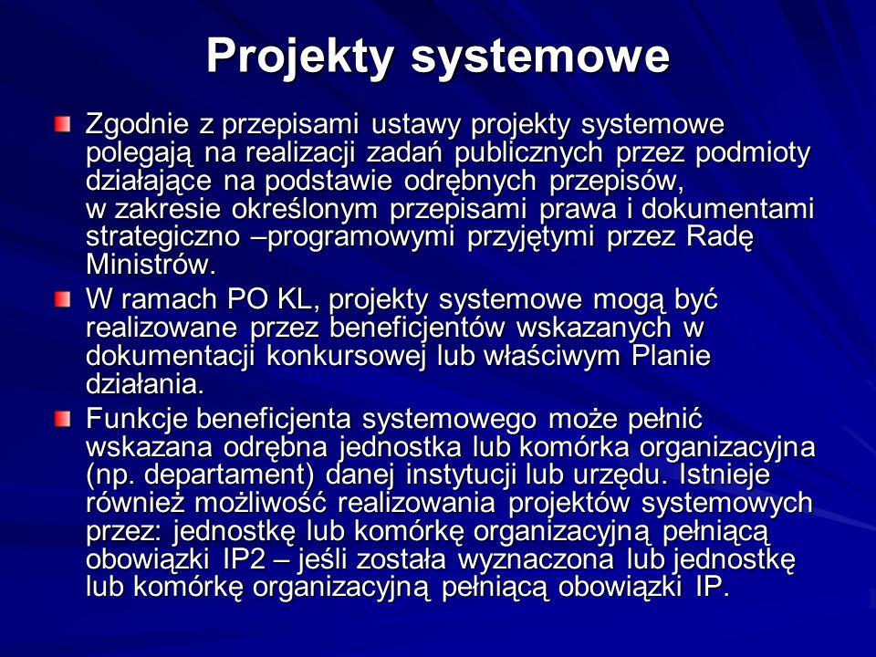 Projekty systemowe Zgodnie z przepisami ustawy projekty systemowe polegają na realizacji zadań publicznych przez podmioty działające na podstawie odrę