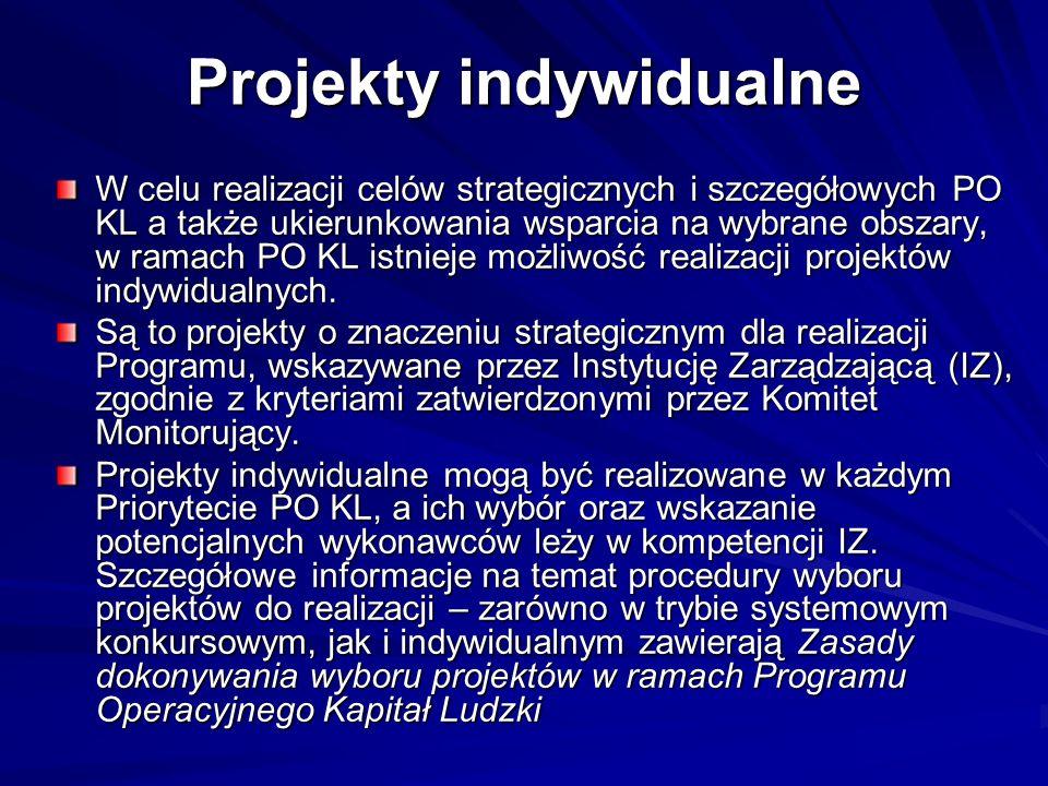 Projekty indywidualne W celu realizacji celów strategicznych i szczegółowych PO KL a także ukierunkowania wsparcia na wybrane obszary, w ramach PO KL