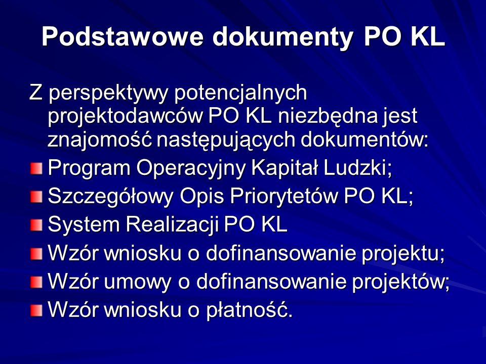 Podstawowe dokumenty PO KL Z perspektywy potencjalnych projektodawców PO KL niezbędna jest znajomość następujących dokumentów: Program Operacyjny Kapi