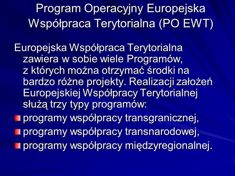 Program Operacyjny Europejska Współpraca Terytorialna (PO EWT) Europejska Współpraca Terytorialna zawiera w sobie wiele Programów, z których można otr