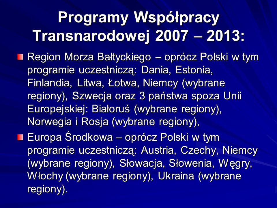 Programy Współpracy Transnarodowej 2007 – 2013: Region Morza Bałtyckiego – oprócz Polski w tym programie uczestniczą: Dania, Estonia, Finlandia, Litwa