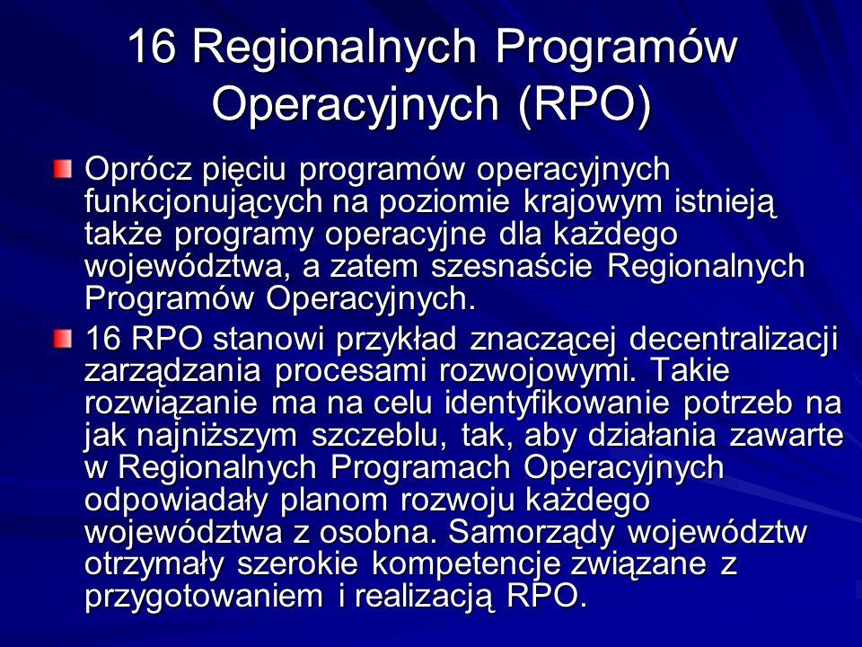 16 Regionalnych Programów Operacyjnych (RPO) Oprócz pięciu programów operacyjnych funkcjonujących na poziomie krajowym istnieją także programy operacy