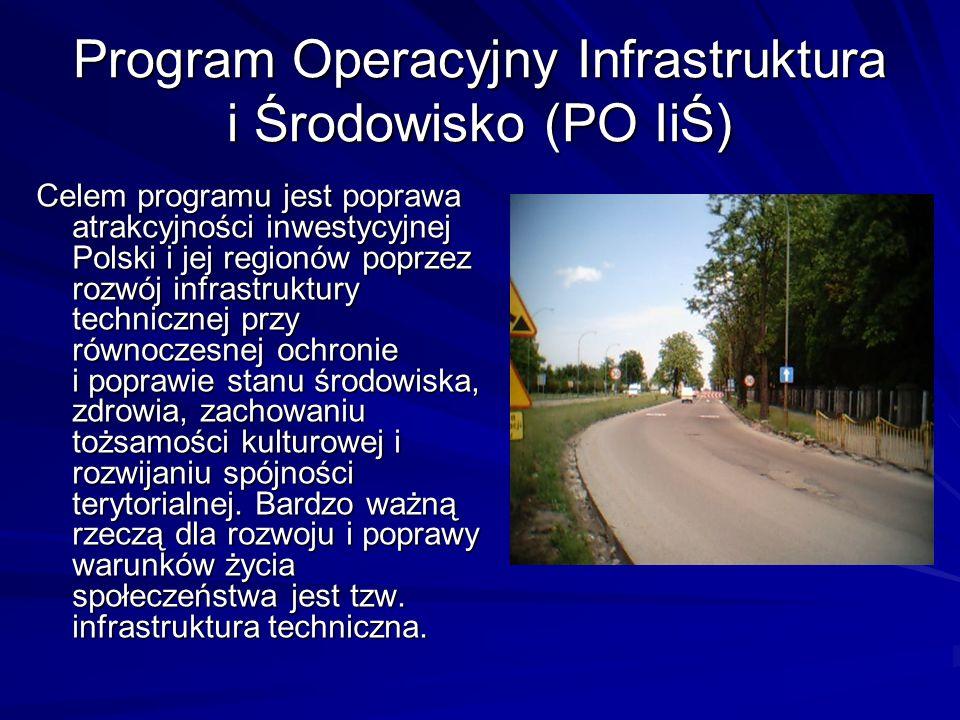 Program Infrastruktura i Środowisko Na infrastrukturę techniczną składa się szereg elementów, takich jak: energetyka dostarczanie wody usuwanie ścieków usuwanie odpadów transport