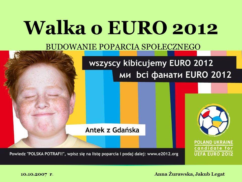 10.10.2007 r. Anna Żurawska, Jakub Legat Walka o EURO 2012 BUDOWANIE POPARCIA SPOŁECZNEGO