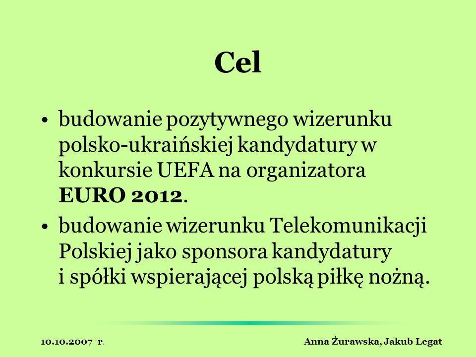 10.10.2007 r. Anna Żurawska, Jakub Legat Cel budowanie pozytywnego wizerunku polsko-ukraińskiej kandydatury w konkursie UEFA na organizatora EURO 2012