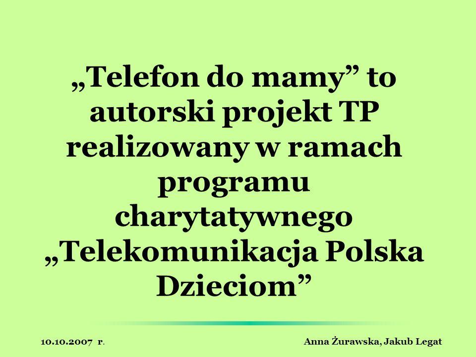 10.10.2007 r. Anna Żurawska, Jakub Legat Telefon do mamy to autorski projekt TP realizowany w ramach programu charytatywnego Telekomunikacja Polska Dz