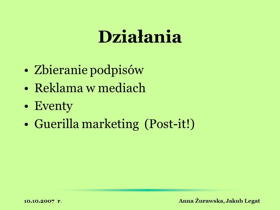 10.10.2007 r. Anna Żurawska, Jakub Legat Działania Zbieranie podpisów Reklama w mediach Eventy Guerilla marketing (Post-it!)