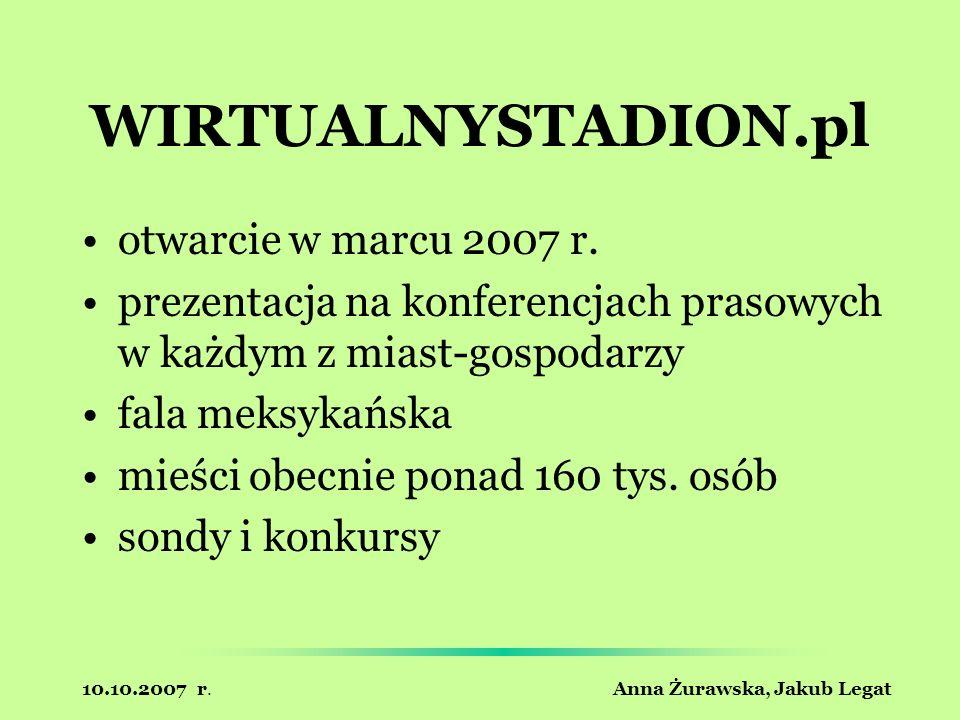 10.10.2007 r. Anna Żurawska, Jakub Legat WIRTUALNYSTADION.pl otwarcie w marcu 2007 r. prezentacja na konferencjach prasowych w każdym z miast-gospodar