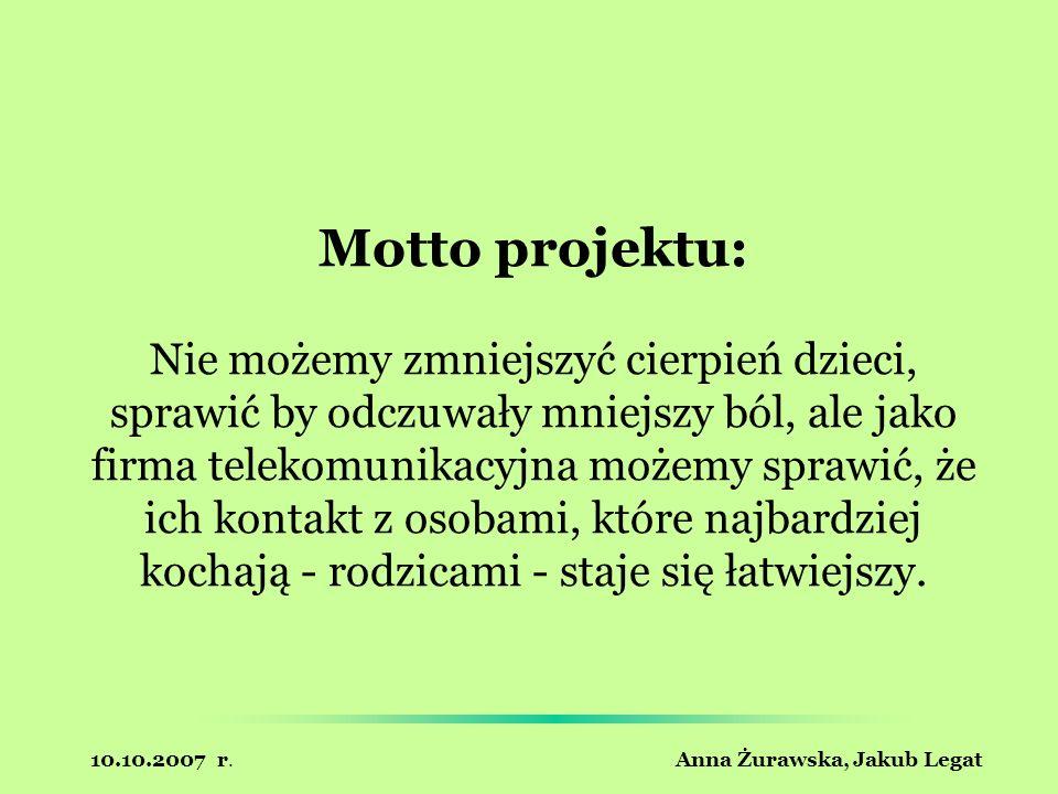 10.10.2007 r. Anna Żurawska, Jakub Legat Motto projektu: Nie możemy zmniejszyć cierpień dzieci, sprawić by odczuwały mniejszy ból, ale jako firma tele