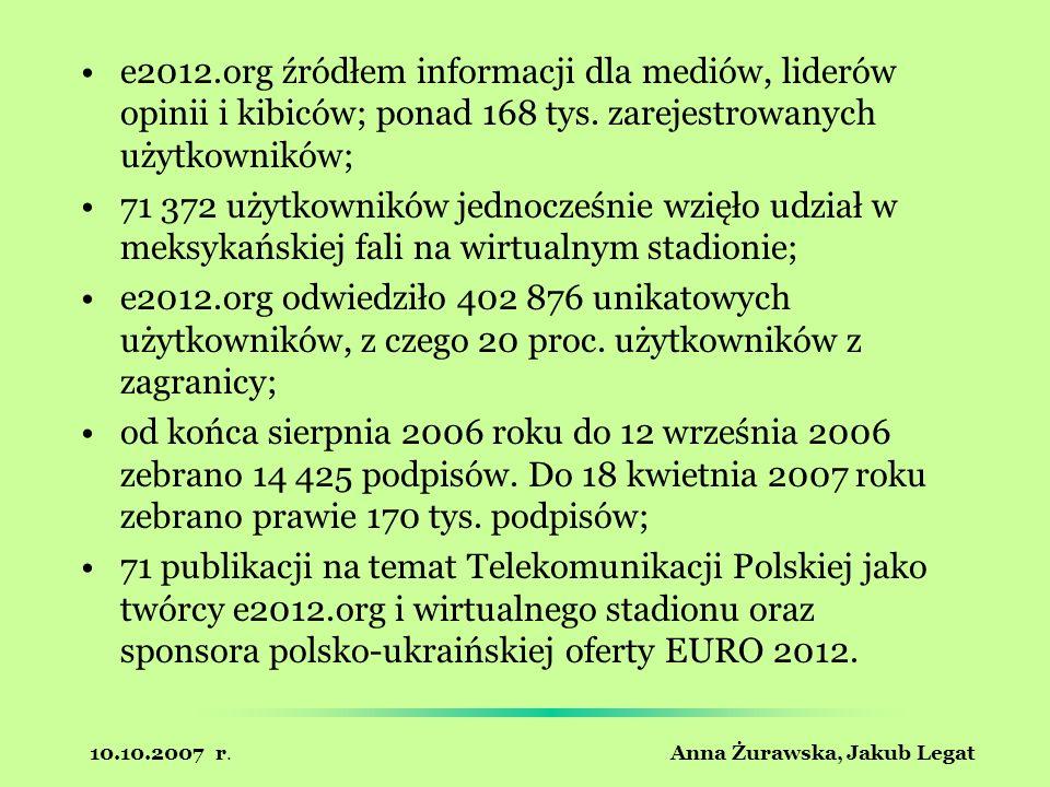 10.10.2007 r. Anna Żurawska, Jakub Legat e2012.org źródłem informacji dla mediów, liderów opinii i kibiców; ponad 168 tys. zarejestrowanych użytkownik