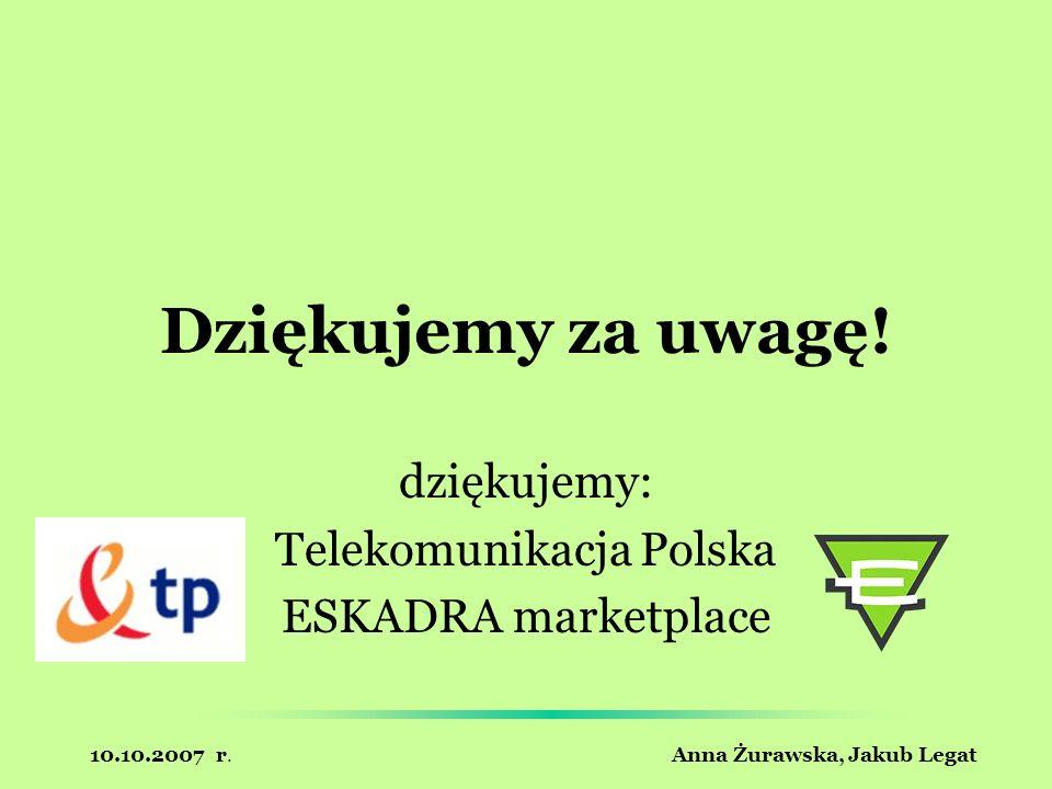 10.10.2007 r. Anna Żurawska, Jakub Legat Dziękujemy za uwagę! dziękujemy: Telekomunikacja Polska ESKADRA marketplace
