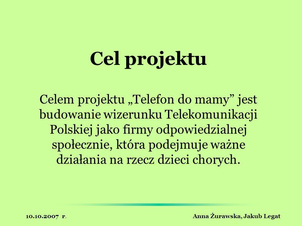 10.10.2007 r. Anna Żurawska, Jakub Legat Cel projektu Celem projektu Telefon do mamy jest budowanie wizerunku Telekomunikacji Polskiej jako firmy odpo