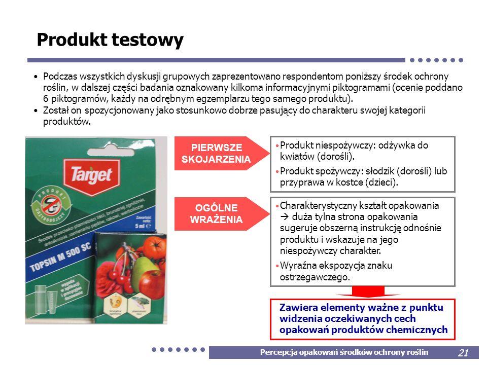 Percepcja opakowań środków ochrony roślin 21 Produkt testowy PIERWSZE SKOJARZENIA Produkt niespożywczy: odżywka do kwiatów (dorośli). Produkt spożywcz
