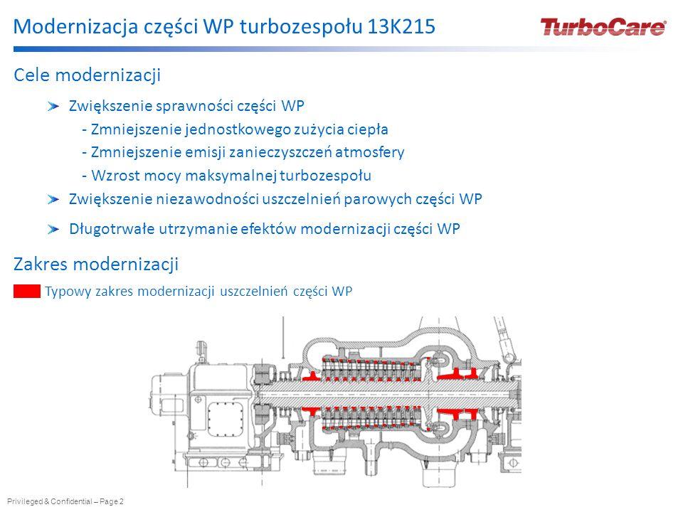 Privileged & Confidential – Page 2 Modernizacja części WP turbozespołu 13K215 Cele modernizacji Zwiększenie sprawności części WP - Zmniejszenie jednos