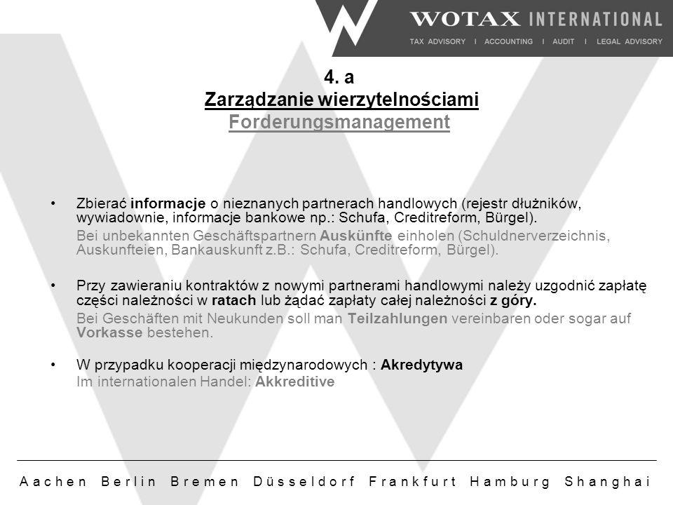 Aachen Berlin Bremen Düsseldorf Frankfurt Hamburg Shanghai Zbierać informacje o nieznanych partnerach handlowych (rejestr dłużników, wywiadownie, informacje bankowe np.: Schufa, Creditreform, Bürgel).