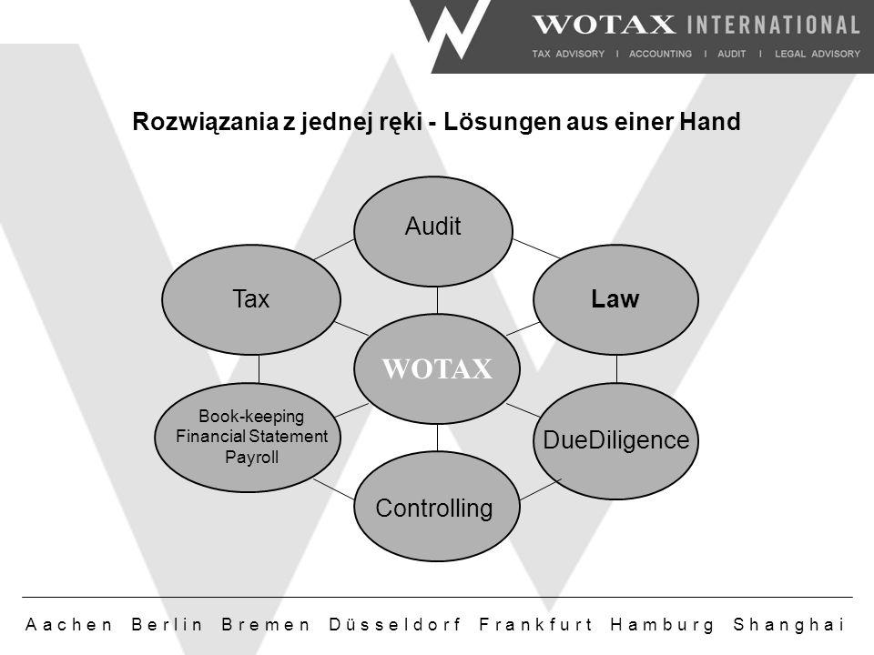 Aachen Berlin Bremen Düsseldorf Frankfurt Hamburg Shanghai Rozwiązania z jednej ręki - Lösungen aus einer Hand Audit DueDiligence Tax Book-keeping Financial Statement Payroll Law Controlling WOTAX
