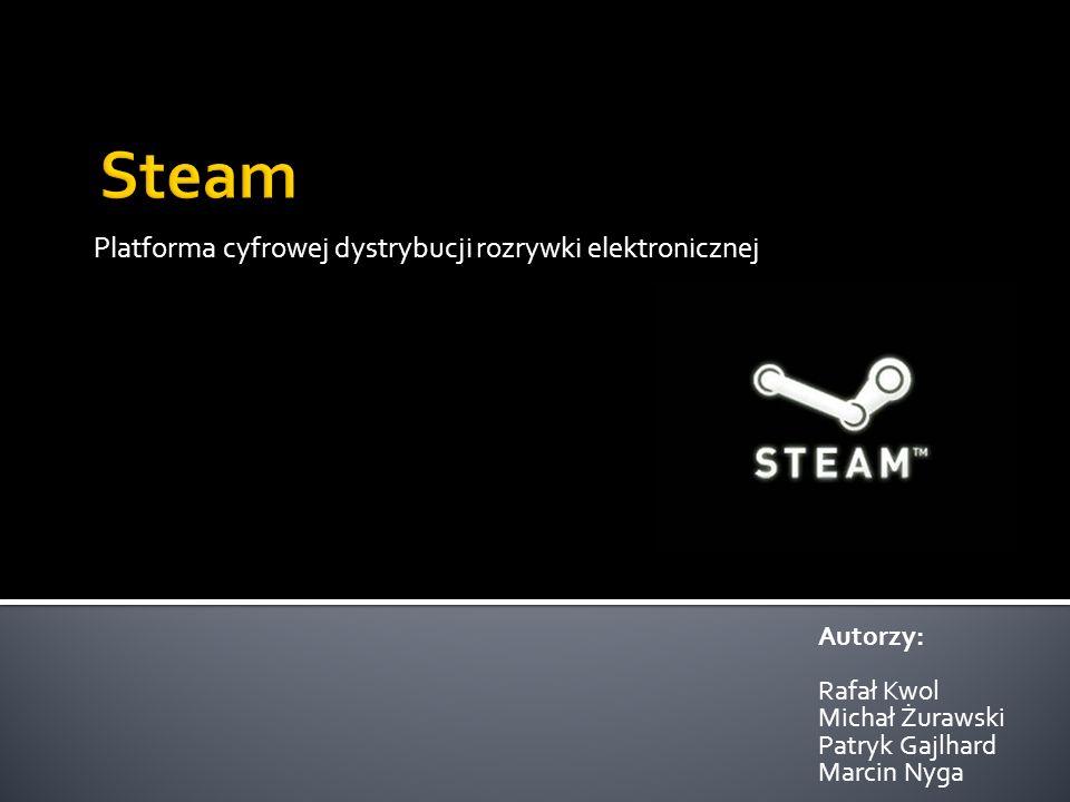 Steam jest platformą cyfrowej dystrybucji gier komputerowych, wieloosobowej rozgrywki oraz komunikacji pomiędzy użytkownikami Platforma ta została założona przez firmę Valve 12 września 2003 roku Asortyment platformy obejmuje produkcji zarówno od małych, niezależnych firm aż po wielkich gigantów branży jak Electronic Arts czy Activision