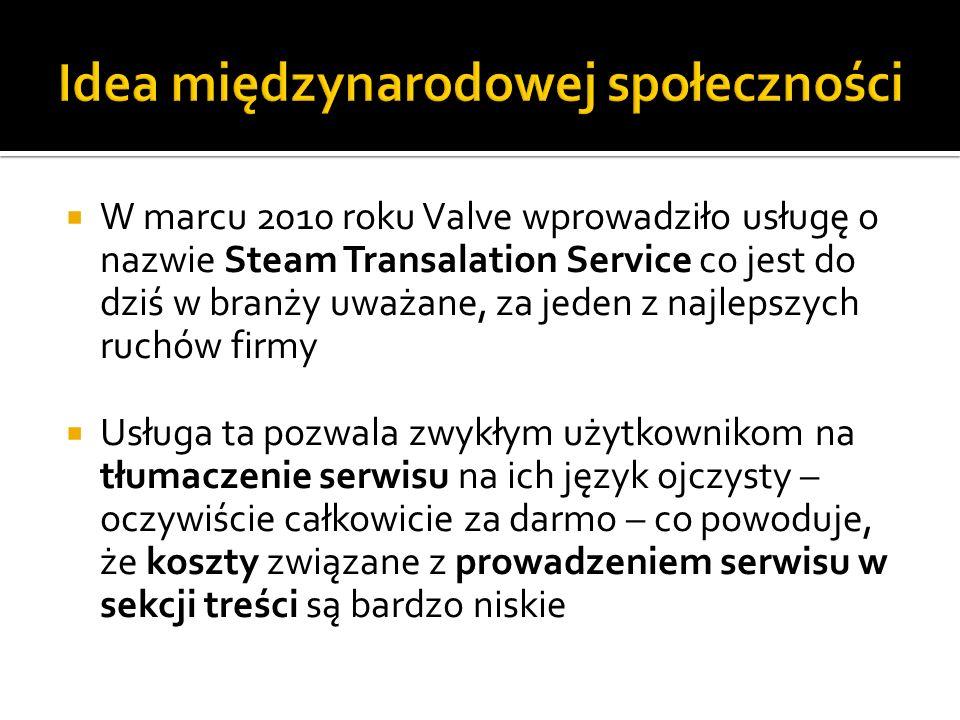 W marcu 2010 roku Valve wprowadziło usługę o nazwie Steam Transalation Service co jest do dziś w branży uważane, za jeden z najlepszych ruchów firmy U