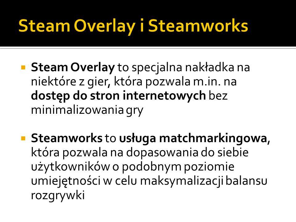 Steam Overlay to specjalna nakładka na niektóre z gier, która pozwala m.in. na dostęp do stron internetowych bez minimalizowania gry Steamworks to usł