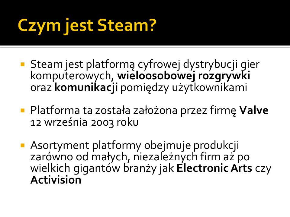Steam jest platformą cyfrowej dystrybucji gier komputerowych, wieloosobowej rozgrywki oraz komunikacji pomiędzy użytkownikami Platforma ta została zał