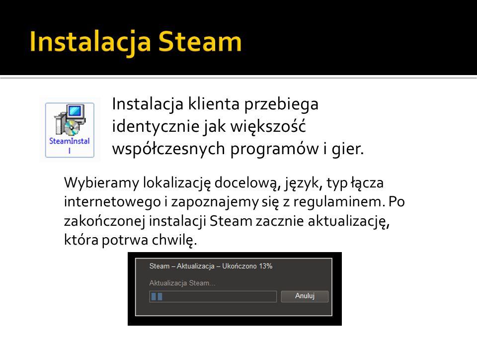 Instalacja klienta przebiega identycznie jak większość współczesnych programów i gier. Wybieramy lokalizację docelową, język, typ łącza internetowego