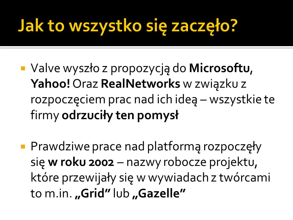 Valve wyszło z propozycją do Microsoftu, Yahoo! Oraz RealNetworks w związku z rozpoczęciem prac nad ich ideą – wszystkie te firmy odrzuciły ten pomysł