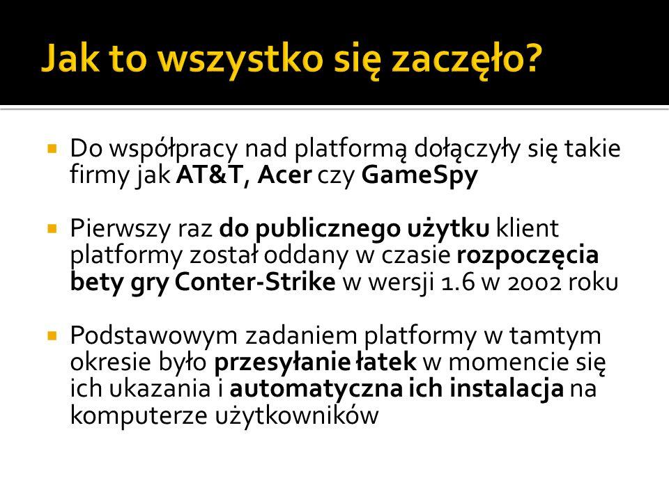 Do współpracy nad platformą dołączyły się takie firmy jak AT&T, Acer czy GameSpy Pierwszy raz do publicznego użytku klient platformy został oddany w c