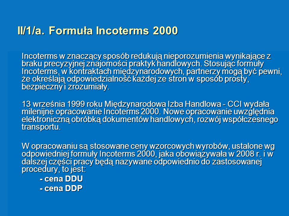 II/1/a. Formuła Incoterms 2000 Incoterms w znaczący sposób redukują nieporozumienia wynikające z braku precyzyjnej znajomości praktyk handlowych. Stos