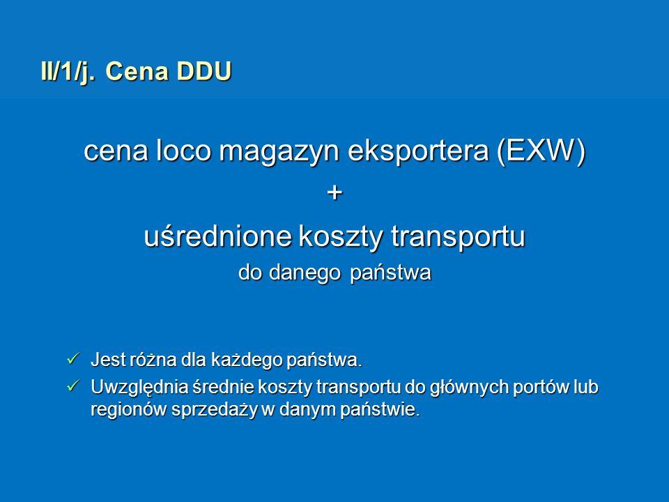II/1/j. Cena DDU cena loco magazyn eksportera (EXW) + uśrednione koszty transportu do danego państwa Jest różna dla każdego państwa. Jest różna dla ka
