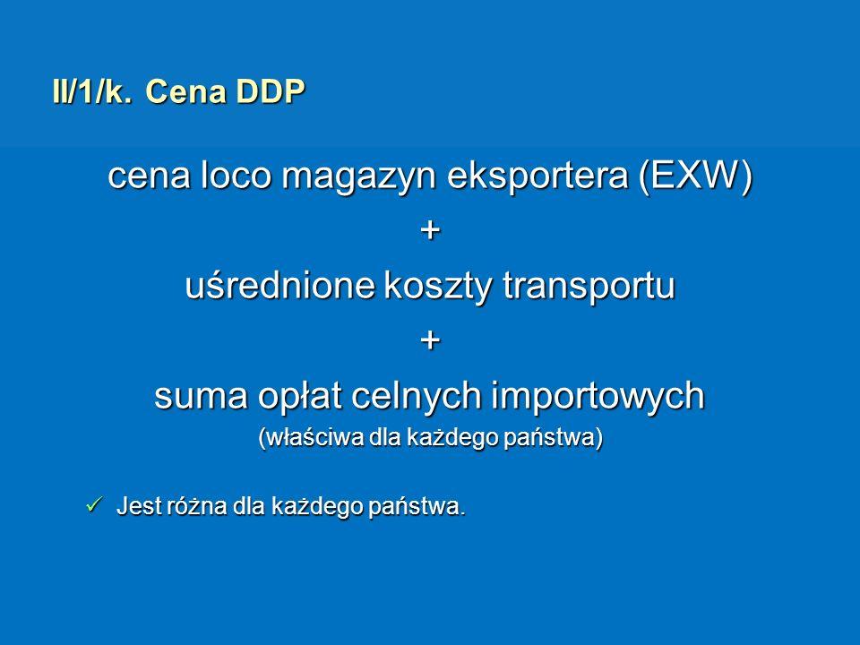 II/1/k. Cena DDP cena loco magazyn eksportera (EXW) + uśrednione koszty transportu + suma opłat celnych importowych (właściwa dla każdego państwa) Jes