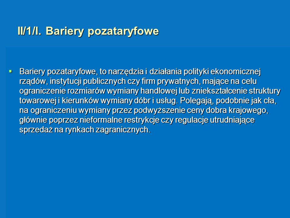 II/1/l. Bariery pozataryfowe Bariery pozataryfowe, to narzędzia i działania polityki ekonomicznej rządów, instytucji publicznych czy firm prywatnych,