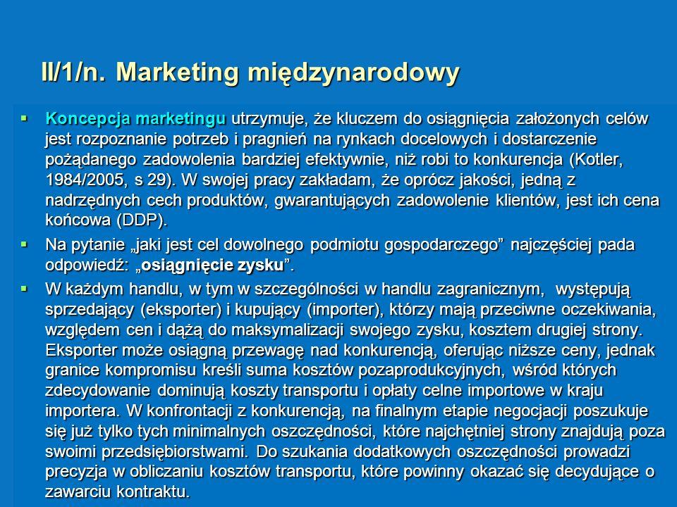 II/1/n. Marketing międzynarodowy Koncepcja marketingu utrzymuje, że kluczem do osiągnięcia założonych celów jest rozpoznanie potrzeb i pragnień na ryn