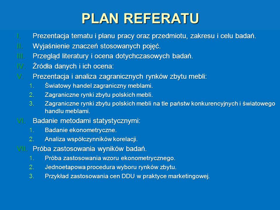 PLAN REFERATU I.Prezentacja tematu i planu pracy oraz przedmiotu, zakresu i celu badań. II.Wyjaśnienie znaczeń stosowanych pojęć. III.Przegląd literat